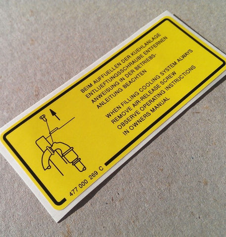 (New) 924/944 Turbo Cooling System Decal - 1978-83