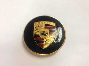 (NOS) Gold Enamel Hubcap Crest with Late Style Red Bars