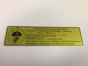 (New) 911 T Timing Decal - 1970