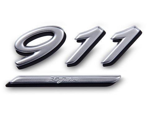 (New) 964 Silver '911' Emblem with '30 Years of Porsche 911' - 1989-94