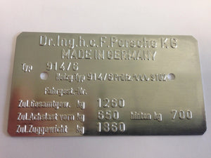 (New) 914/6 Chassis ID Plate - 1970-72