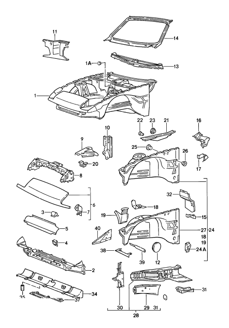 (New) 944 Turbo, 968 Dash/Windshield Crossbeam 1985-95