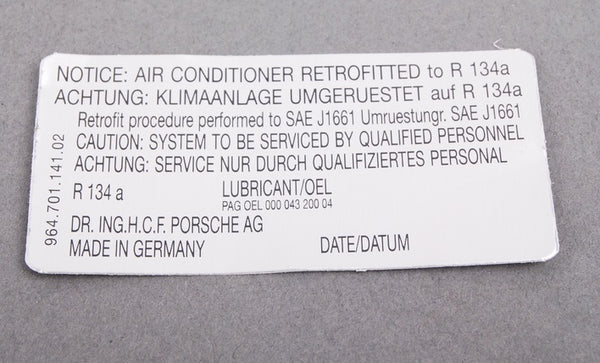 (New) 964 R134A Air Conditioner Decal - 1989-94