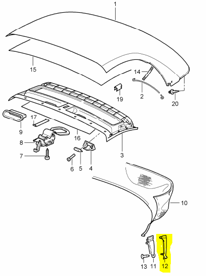 (New) Boxster Left side cabriolet Trim Clamping Piece - 1997-04
