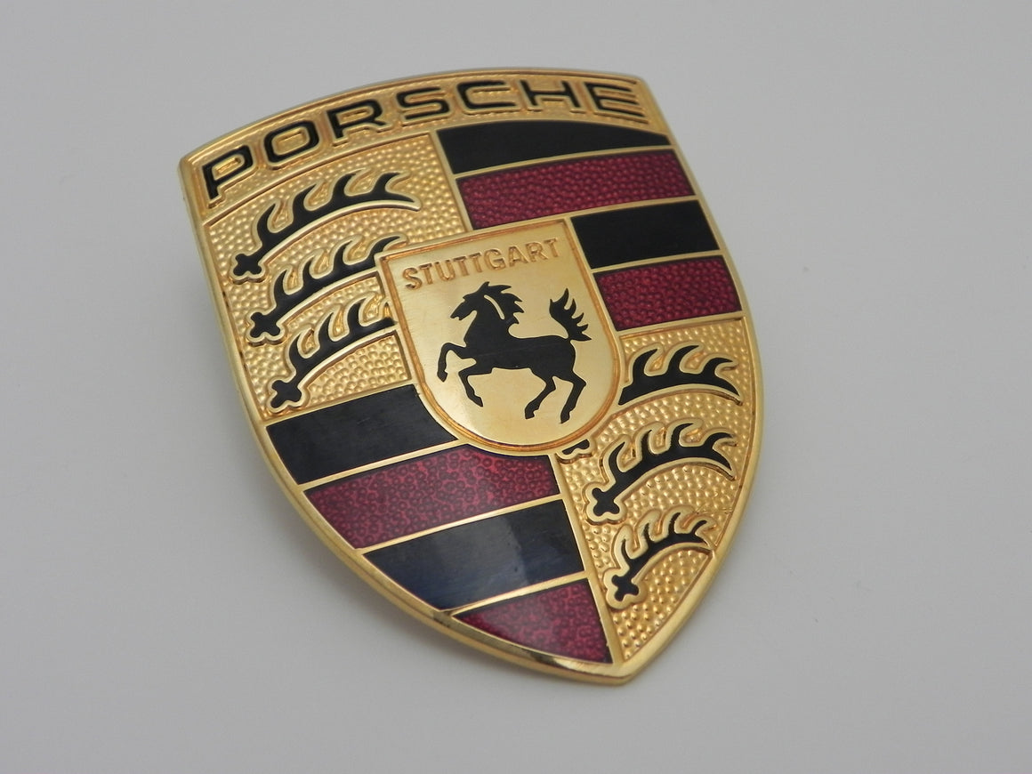 (New) Hood Crest with Maroon Bars and Black Filled Porsche Script - 1995-2018