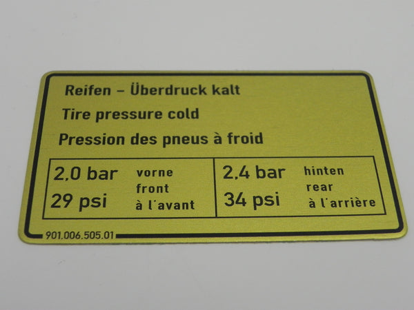 (New) 911 Tire Pressure Decal - 1973-79