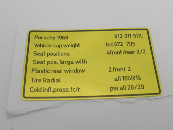 (New) 911/912 Vehicle Capacities Decal - 1968