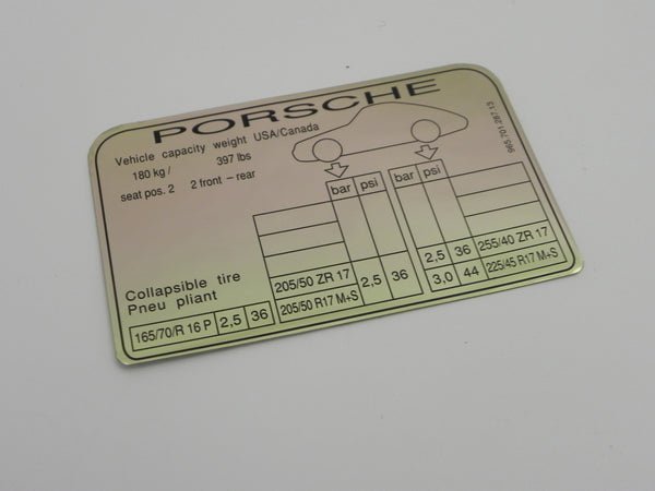 (New) 911/964 Turbo Tire Pressure Decal - 1989-94