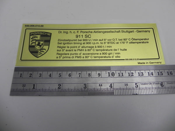 (New) 911 SC Timing Decal - 1978-81
