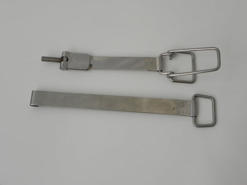 (New) 911/912 Set of Polished Upper and Lower Battery Hold Down Straps - 1969-73