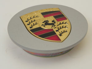 (New) 928/944/964/968/986/993/996 Silver Center Cap w/ Full Colored Porsche Crest - 1978-2005