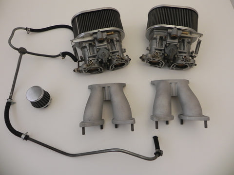 (Rebuilt) 356/912 Pair of Weber 40 IDF Carburetors w/ Fuel Line and Air Cleaners
