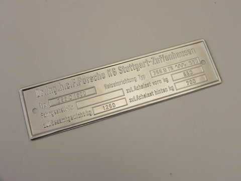 (New) 356 C Chassis ID Plate w/ Export Heater System - 1964-65