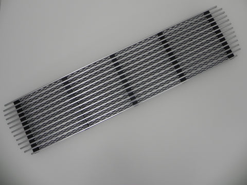 (New) 911 Silver 5 Bar Engine Lid Grille with Black Mesh - 1969-71