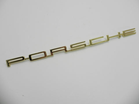 (New) 911/912 Gold One-Piece 'Porsche' Engine Lid Logo - 1965-66