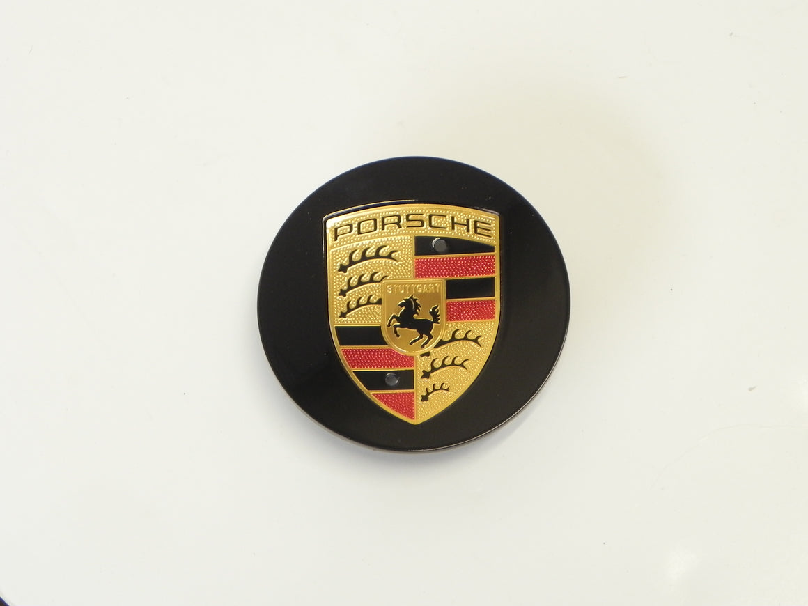 (New) Boxster/Cayenne/Cayman/Panamera Black Center Cap w/ Colored Crest