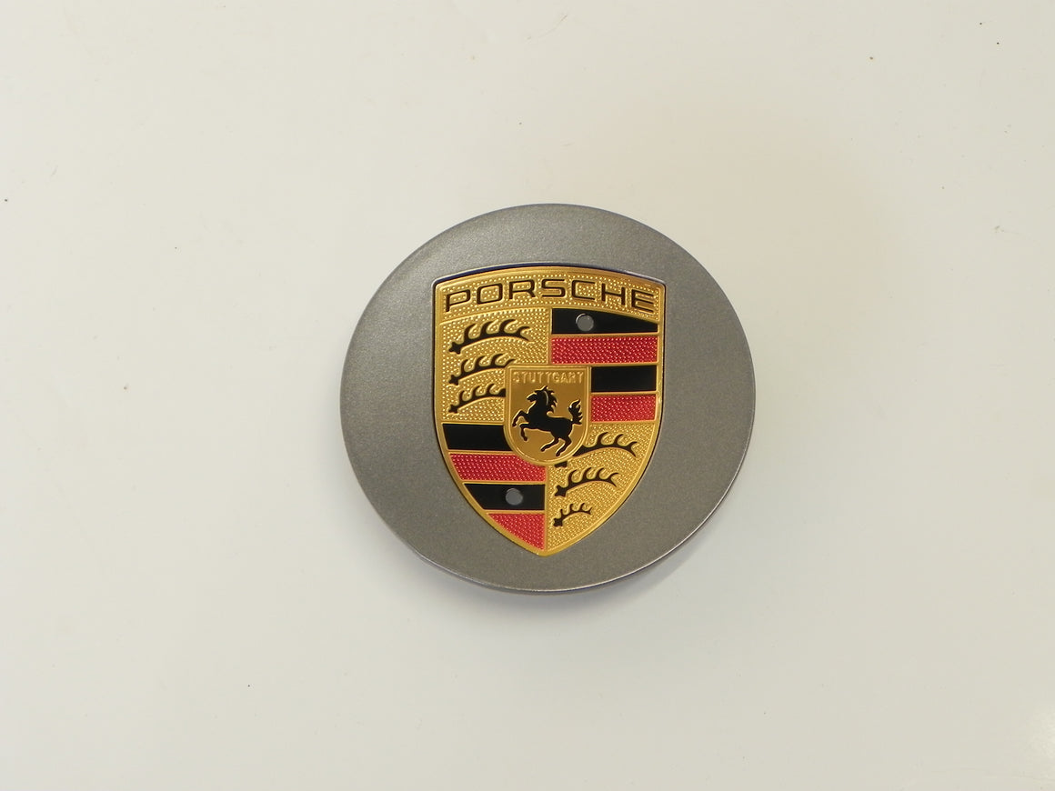 (New) Boxster/Cayenne/Cayman/Panamera Titanium Center Cap w/ Colored Crest