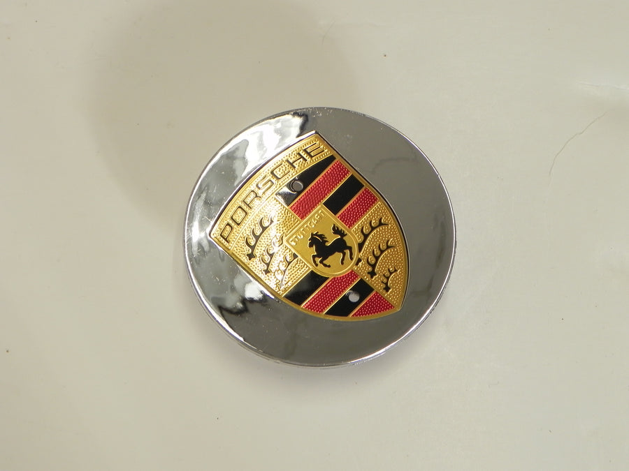 (New) Boxster/Cayenne/Cayman/Panamera Chrome Center Cap w/ Colored Crest