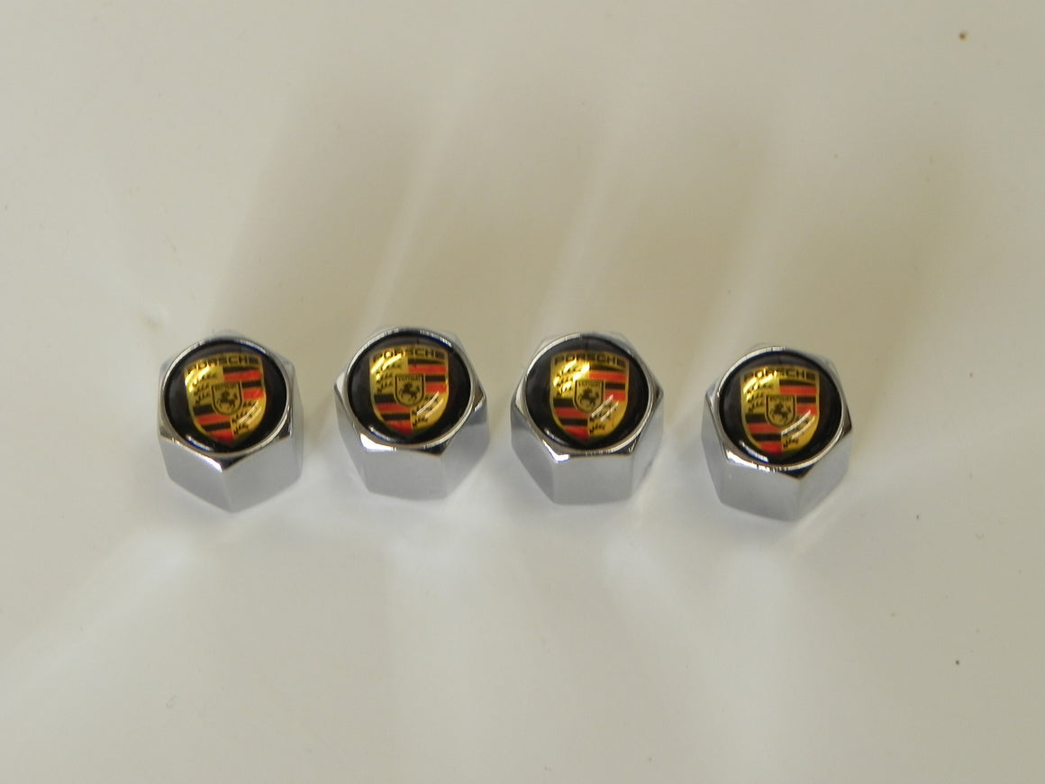 (New) Chrome Valve Stem Cap Set w/ Colored Crests & Black Top