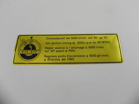 (NOS) 911 S or E Timing Decal - 1969-73