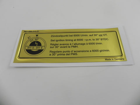 (New) 911 S or E Timing Decal - 1969-73