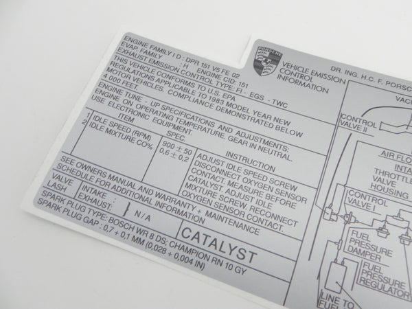 (New) 944 Emissions Decal - 1982