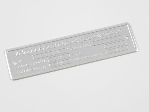 (New) 356 Chassis ID Plate xxx/1600