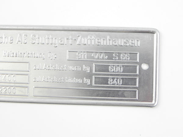 (New) 911, Carrera, S,  RSR 2.7 Chassis ID Plate - 1974-76