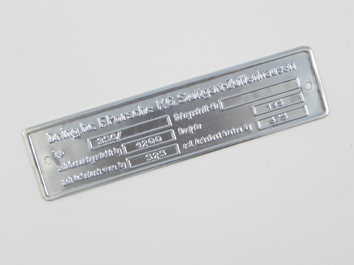 (New) 356 Steel Chassis ID Plate - 1950-65