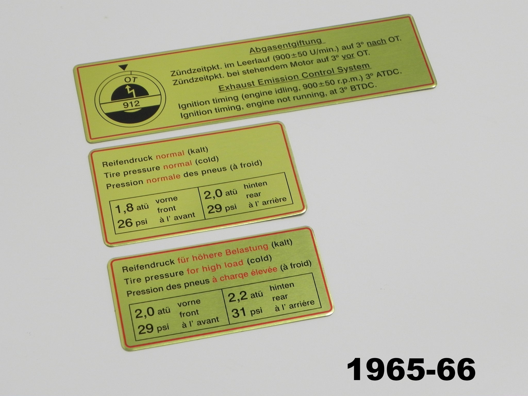 BOSCH 12V DECAL 'MADE IN SPAIN' 912 911 porsche resto repro 1966 – 1976 914