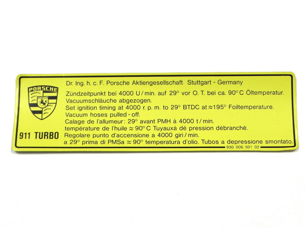 (New) 911 Turbo Timing Decal - 1983-89