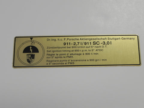 (New) 911 2.7 or 3.0 Timing Decal - 1974-77