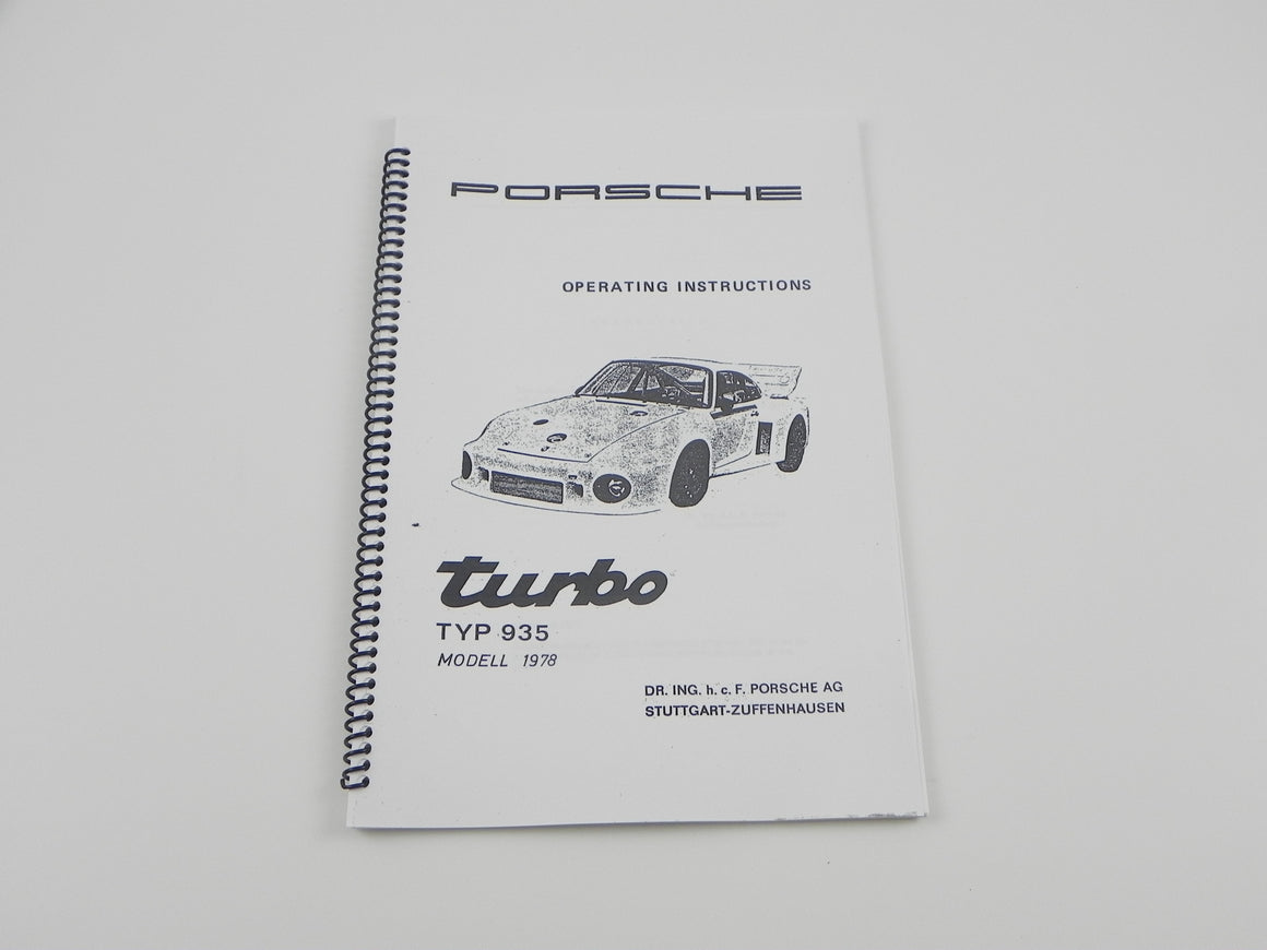 (New) Porsche 935/78 Operating Instructions