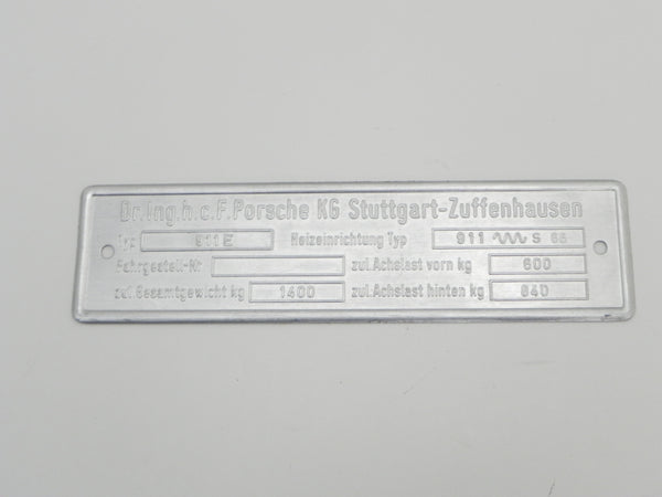 (NOS) 911 E Type B Chassis ID 3 Line Plate - 1969