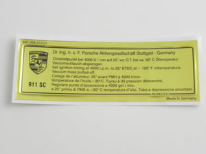 (New) 911 SC Timing Decal - 1982