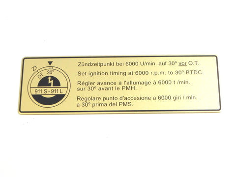 (New) 911 S or L Timing Decal - 1967-68