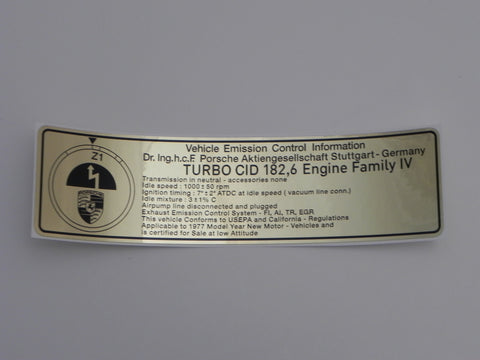 (New) 930 Exhaust Timing Sticker - 1977