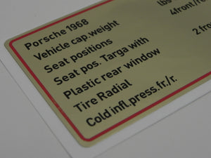 (New) 911/912 Red Bordered Tire Capacities and Pressure Decal - 1968