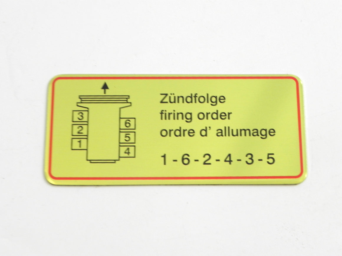 (New) 911 Firing Order Decal with Red Border - 1965-69
