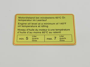 (New) 911/914 Red Bordered Engine Oil Level Decal - 1965-72