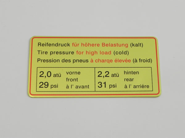 (New) 911/912 Red Bordered Tire Pressure Decal - 1965-69