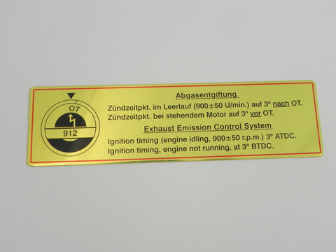 (New) 912 Timing Decal with Red Border - 1965-69