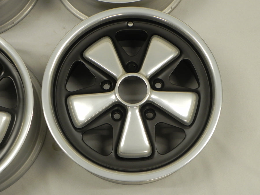 (Refinished) Complete Set of 4 Month Date-Matching Early 6j x 15 Forged Alloy Flat Six Fuchs Wheels - 1965-89