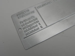 (New) Late European Chassis Identification Plate