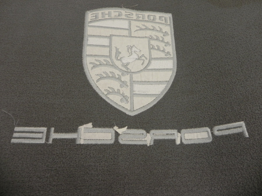 Porsche 924/944 trunk mat, Black with Silver Crest and lettering, Grey rubber Backing