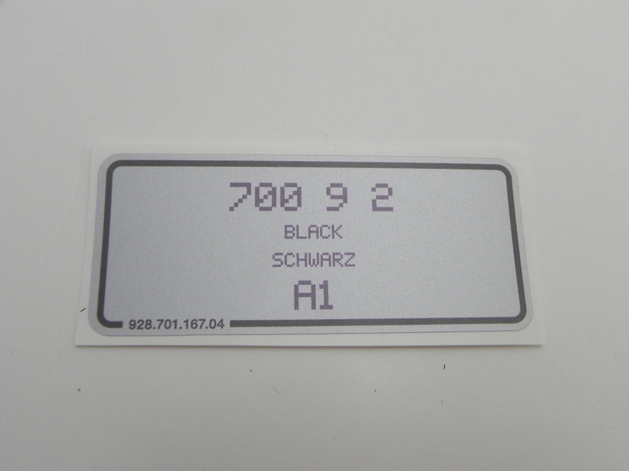 (New) 911/924/928/944 Black Paint Code Decal - 1988-98