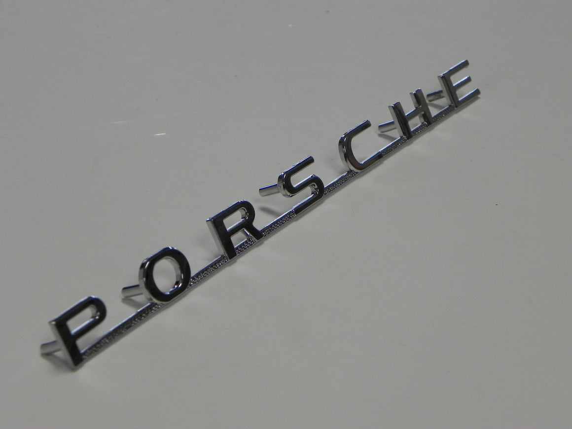 "(New) 356 Chrome Emblem: ""Porsche"" - 1950-59"