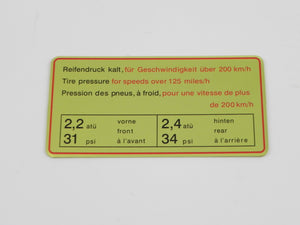 (New) 911 Red Bordered Tire Pressure Decal - 1967S
