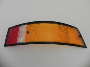 (New) 911/912/930 Genuine Right Side Euro Amber/Red/Clear Tail Light Lens with Black Trim - 1973-89