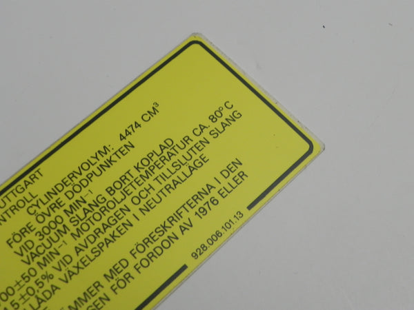 (New) 928 Engine Specifications Decal - 1978-82